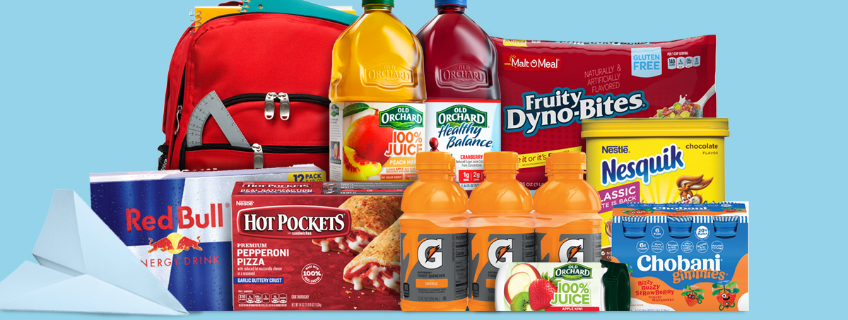 Back to school cereal, beverages and snacks