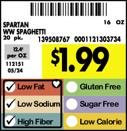 Family Fare Nutrition Guide Signs