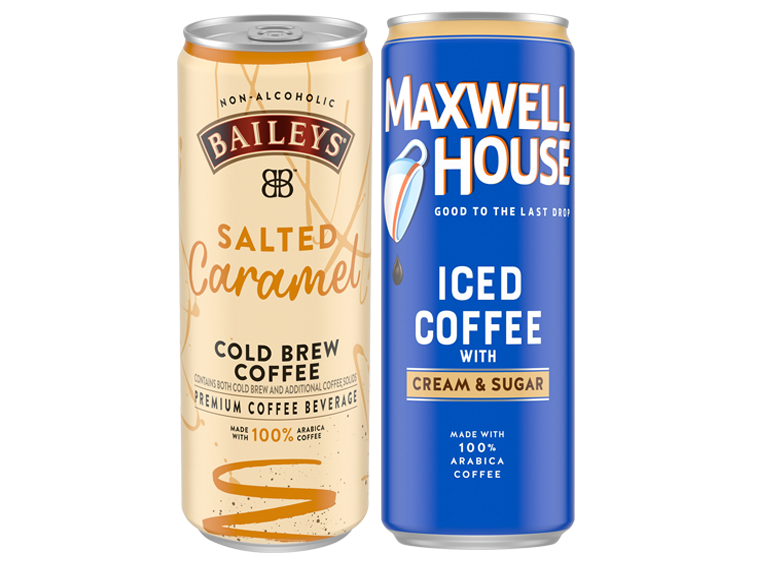 Cans of Baileys and Maxwell House Iced Coffee