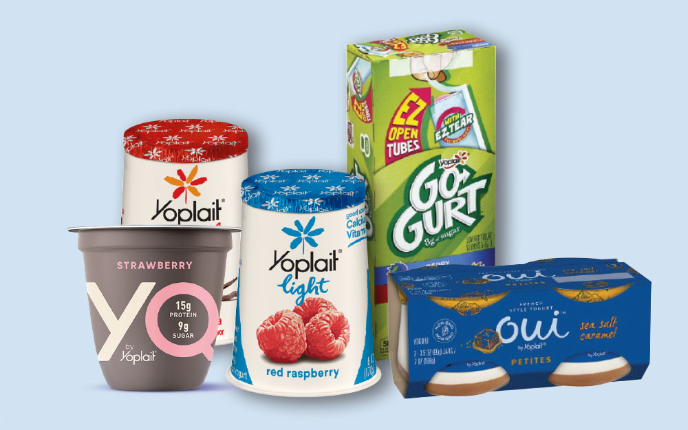 Collage of Yoplait yogurt products
