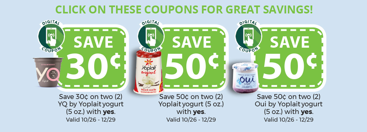 Photos of Yoplait yogurt coupons which link to digital coupons for Yoplait yogurt.