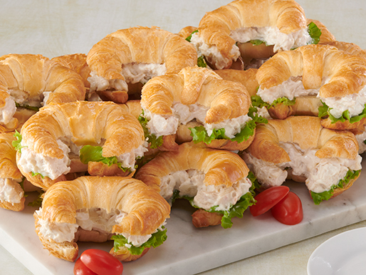 Platter with croissant sandwiches