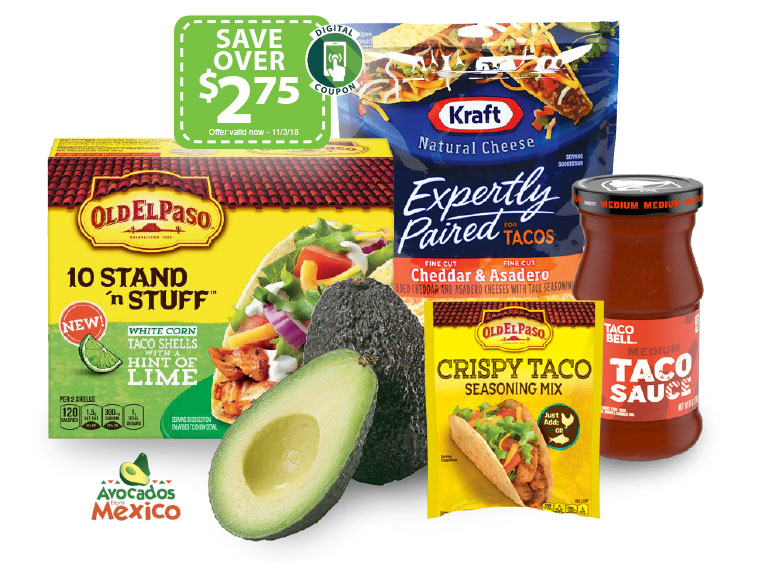 Digital Coupons for savings on Old El Paso, Taco Bell and Kraft Expertly Paired Cheese