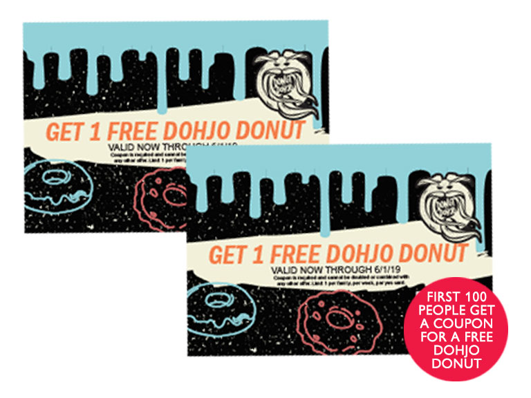image of donut dohjo coupons, sponsor logos and text regarding free donut coupon