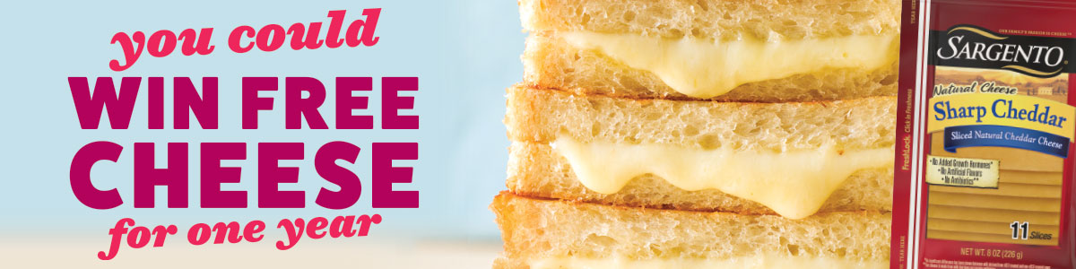 You could win free cheese for a year image showing grilled cheese sandwich and Sargento brand cheese