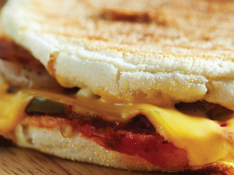 Close up of breakfast sandwich