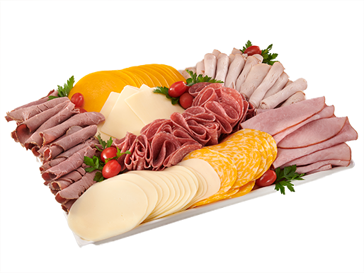 Platter with lunch meats and cheeses