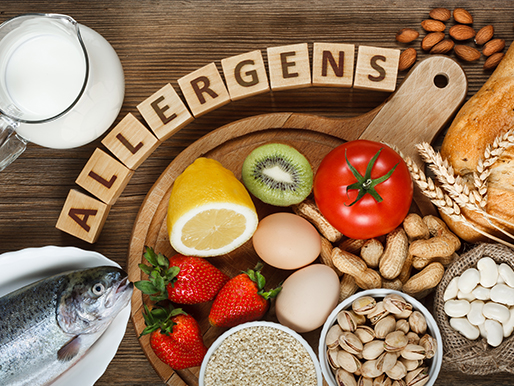 Food allergens with images of common food allergies.