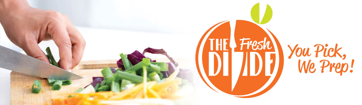 Vegetables being cut with Fresh Divide logo at right