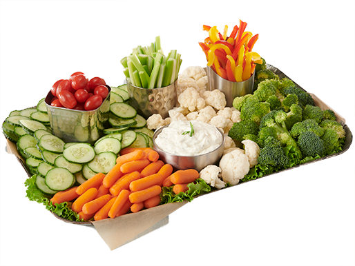 Vegetable tray with fresh cut cucumbers, carrots, broccoli, cauliflower, peppers and tomatoes