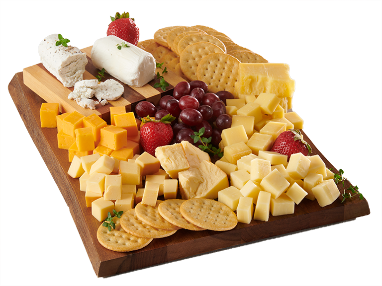 gourmet cheese with crackers on cutting board