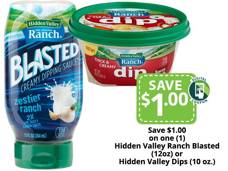 Hidden Valley Ranch Blasted Dipping Sauce and Dip  packages
