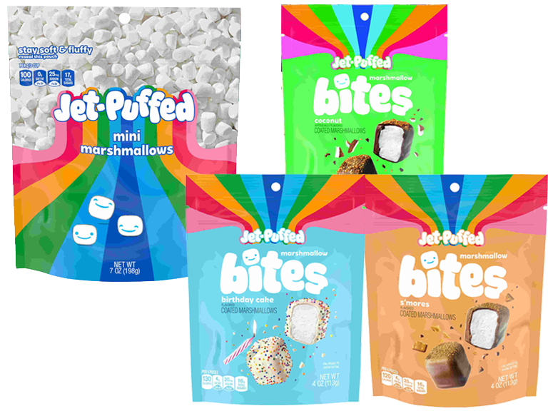 Collage of Jet Puff Brand Mini Marshmallows and Candy Coated Marshmallow Snack Bites