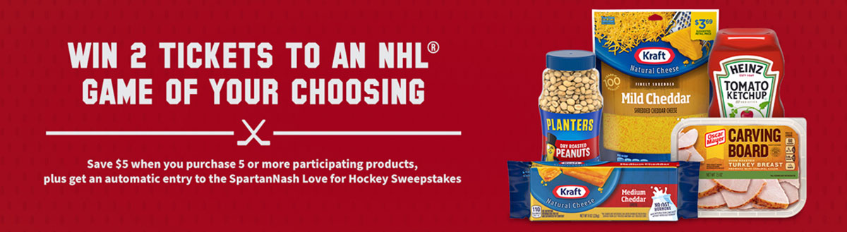 Graphic that reads win 2 tickets to your choice of a NHL game and Kraft collage