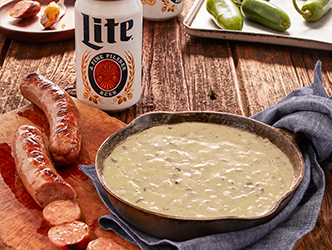 Miller Lite Brauts with Hatch Chile Queso