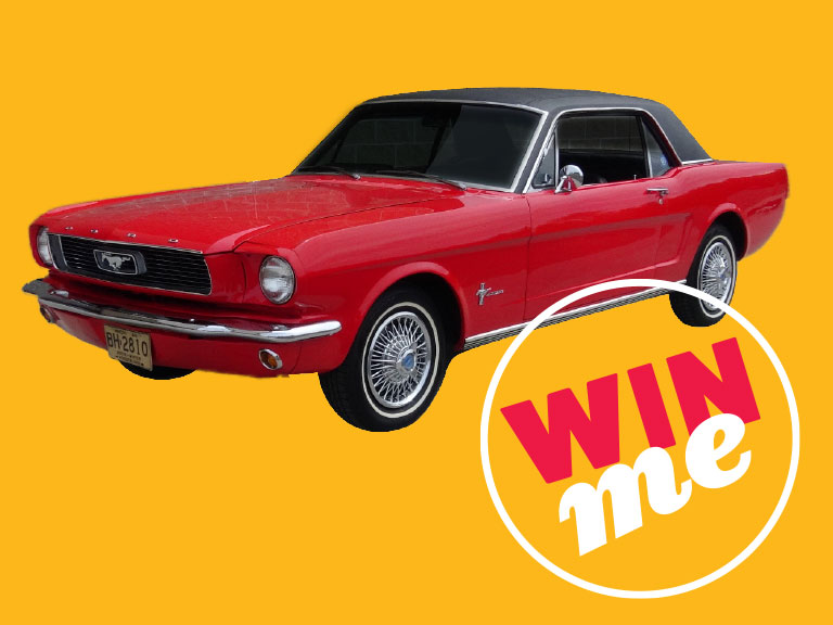 Red 1966 Ford Mustang on yellow background with enter to win text