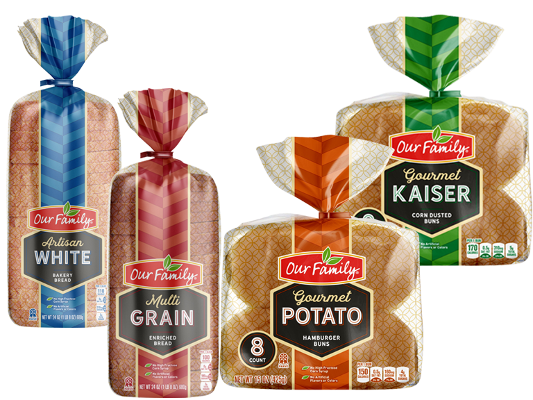 collage of Our Family Brand bread and buns
