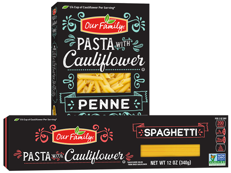 Two Boxes Our Family Brand Cauliflower Pasta
