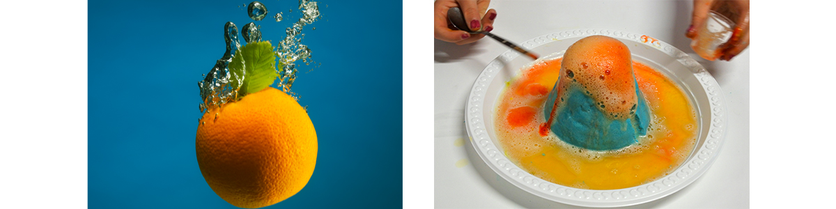 Orange in water and volcano science experiment