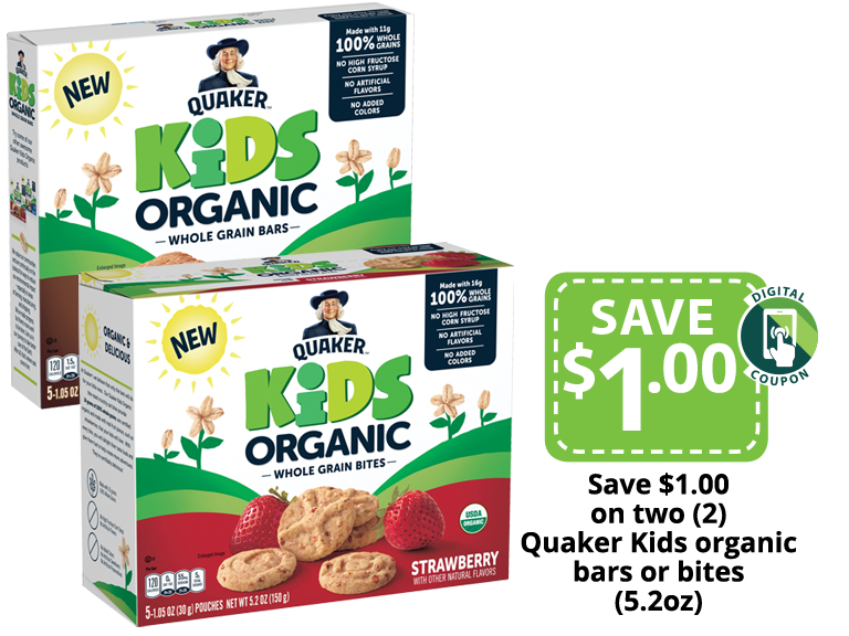 New Quaker Kids Organic Whole Grain Bars in our stores now!