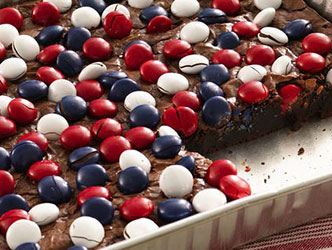 Red, white and blue M&M brownies