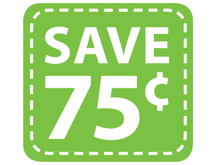 Save 75 cents by clipping coupons