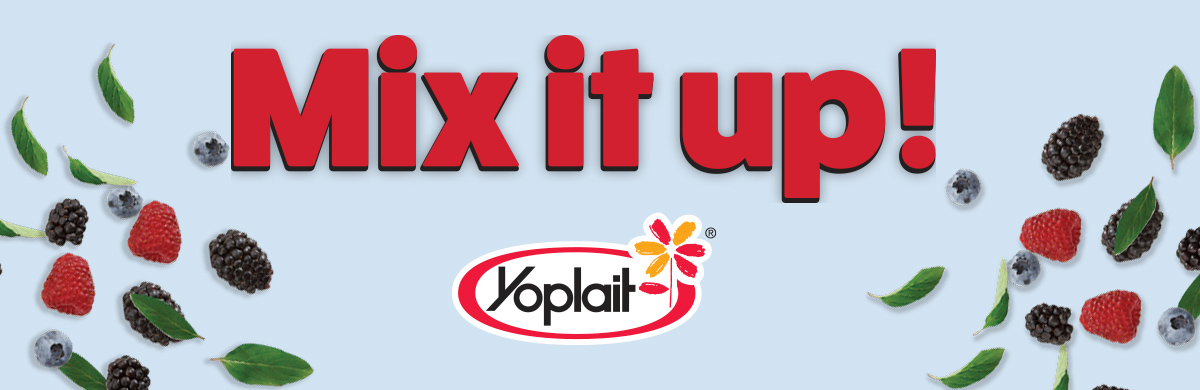 Mix it up headline with berries and yoplait yogurt logo
