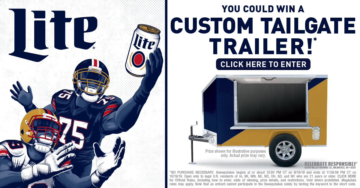 Enter for a chance to win a custom tailgating trailer from Miller Lite!