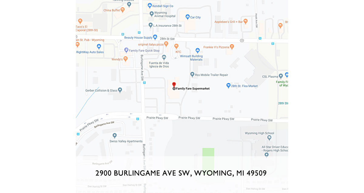 google map of family fare burlingame store location