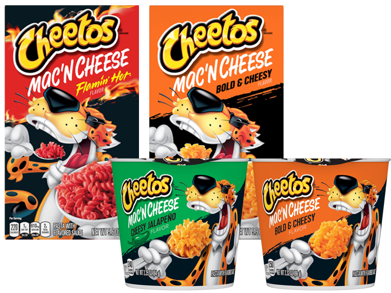 Packages of Cheetohs brand mac and cheese