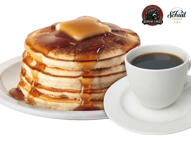 photo of pancakes, coffee and sponsor logos