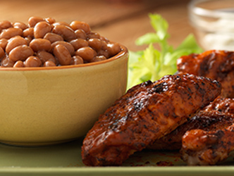 buffalo chicken wings and baked beans