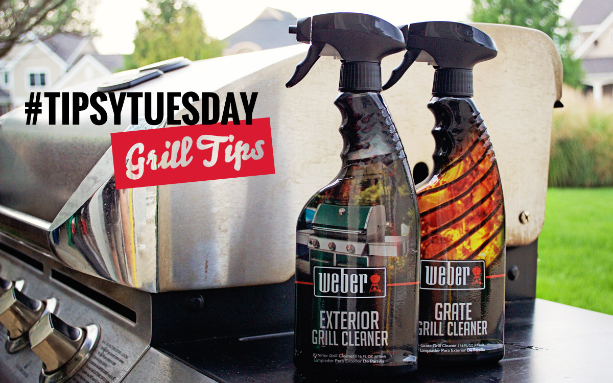 Grill Cleaning tips with Weber Exterior Grill Cleaner and Weber Grate Grill Cleaner.