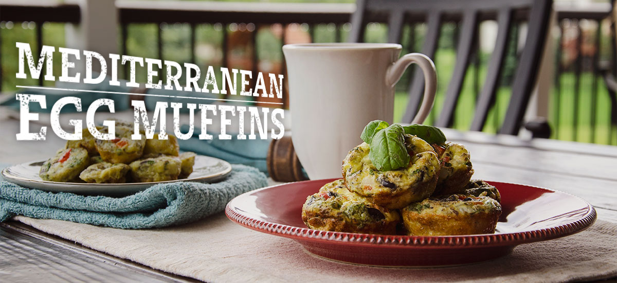 Plates of Mediterranean egg muffins waiting to be eaten show an easy morning breakfast recipe solution.