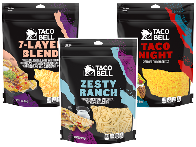 photo of bags of taco bell brand shredded cheese