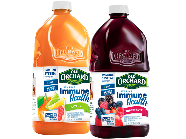 Old Orchards Immune Health blends 100% fruit juice fortified with vitamins and healthful ingredients
