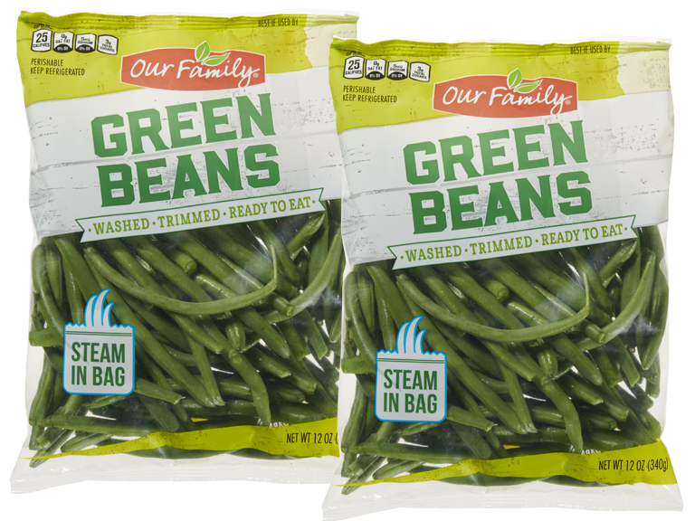Bag of Our Family brand fresh rinsed and cut green beans