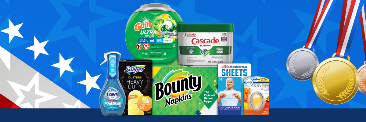 Product collage items include dawn dish soap bounty paper towels gain detergent cascade dish pods mr clean magic eraser wipes and febreze air freshener