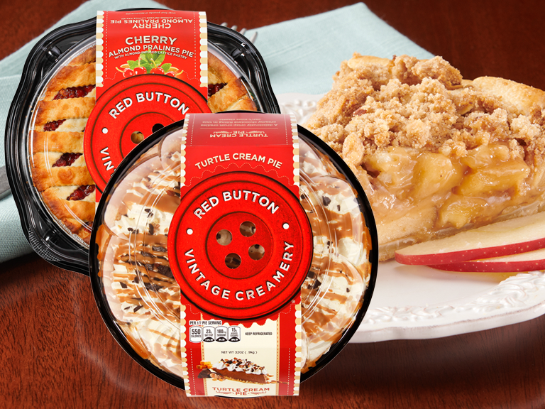 Red Button Brand Pies with a slice of apple pie in background